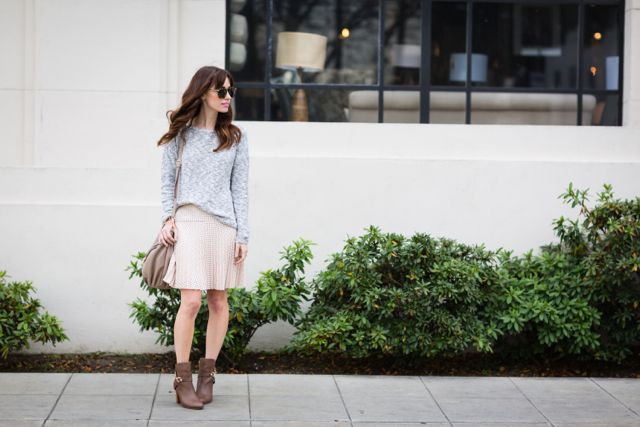 neutral outfit with banana republic sweater and j.crew laser cut skirt M Loves M @marmar