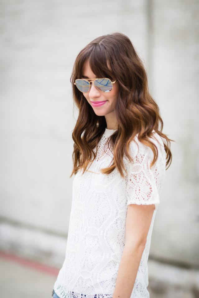 white lace banana republic top on Los Angeles fashion blogger M Loves M @marmar