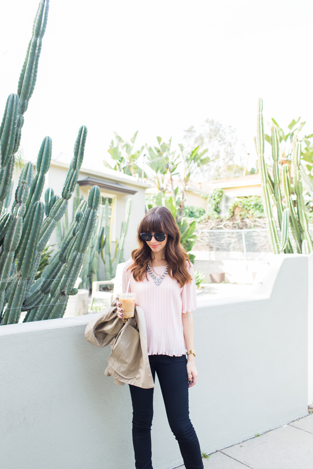 pink pleated blouse with black jeans M Loves M @marmar