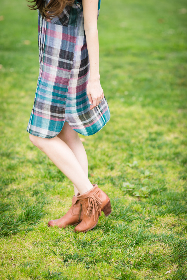 plaid shirtdress from anthropologie and sam edelman louie fringe botos on M Loves M @Marmar