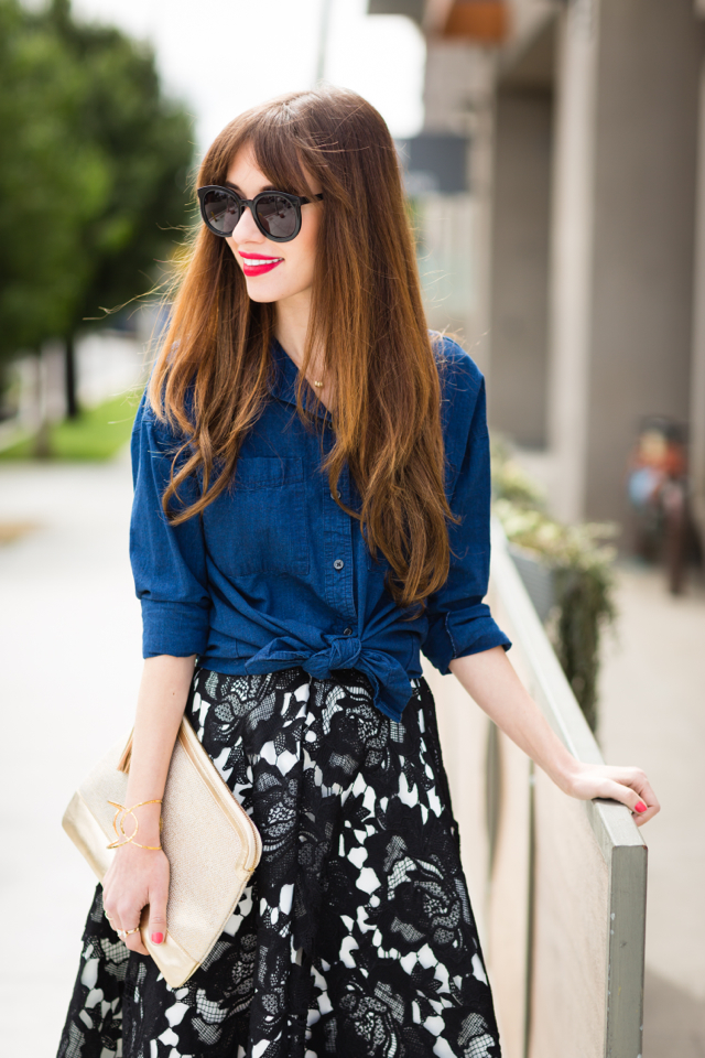 tied chambray top and black lace midi skirt M Loves M @marmar