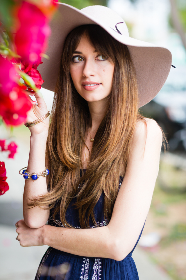 strapless and embroidered dress for spring with floppy hat on M Loves M fashion blogger @marmar