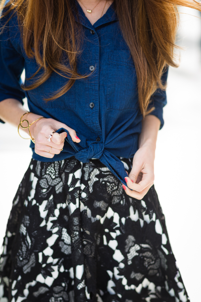 knotted chambray top and midi skirt M Loves M @marmar