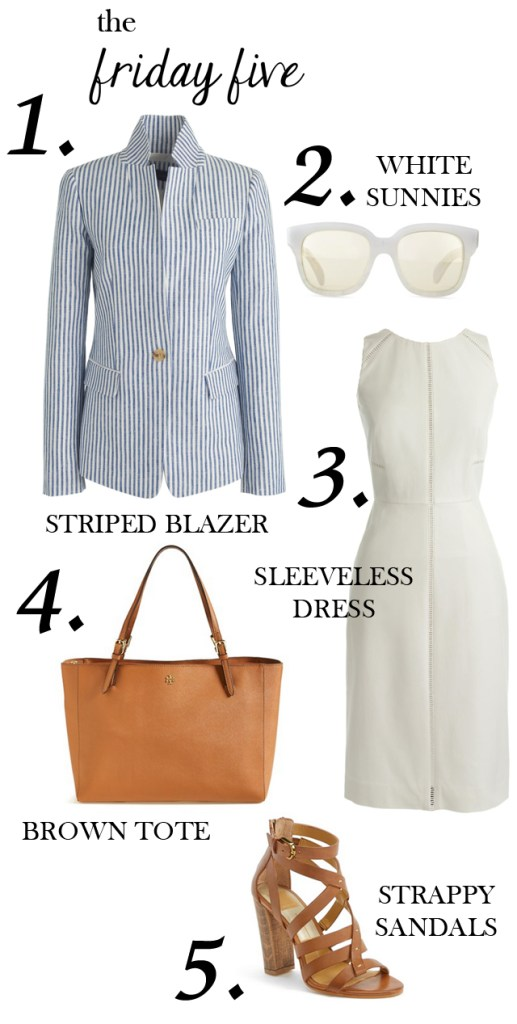 the friday five with blue and white striped blazer, white dress, white sunglasses, brown luggage tory burch tote and strappy dolce vita nolin sandals M Loves M @marmar