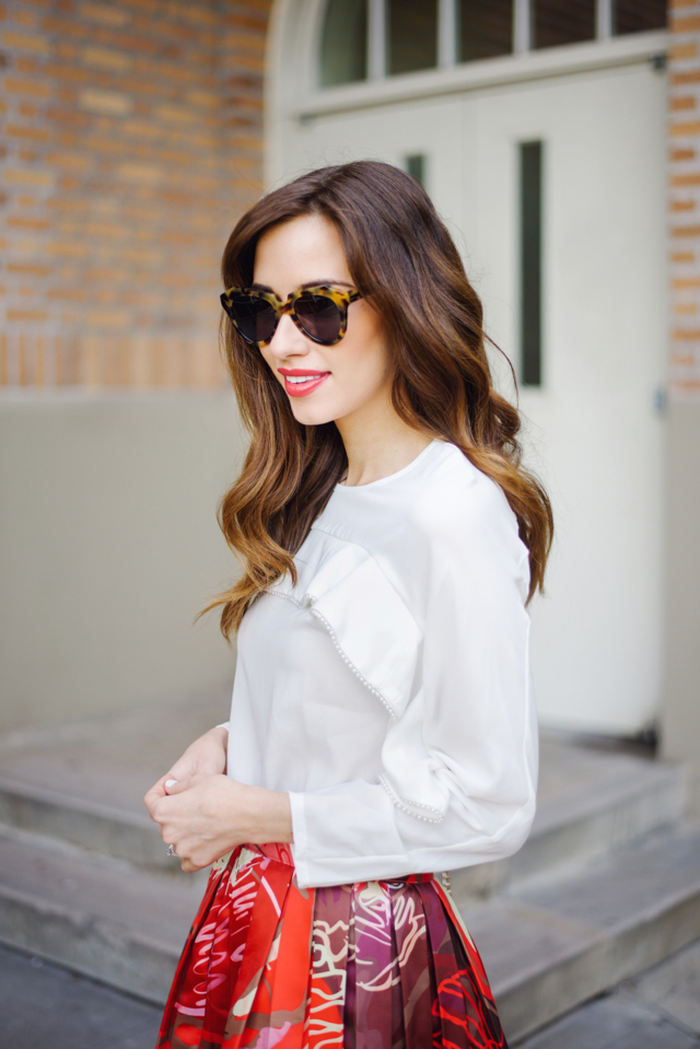 white blouse with bright floral print skirt on M Loves M Los Angeles blogger @marmar