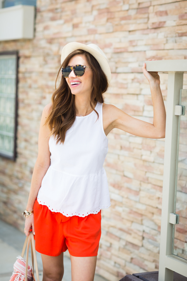white blouse with orange shorts vacation style M Loves M @marmar