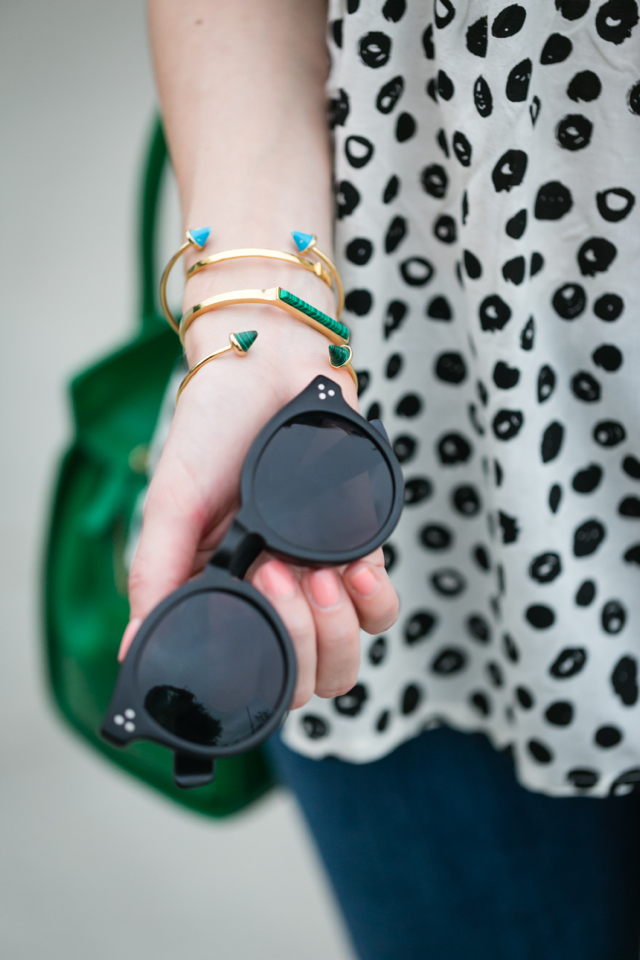 modern polka dot top with black sunglasses M Loves M @marmar