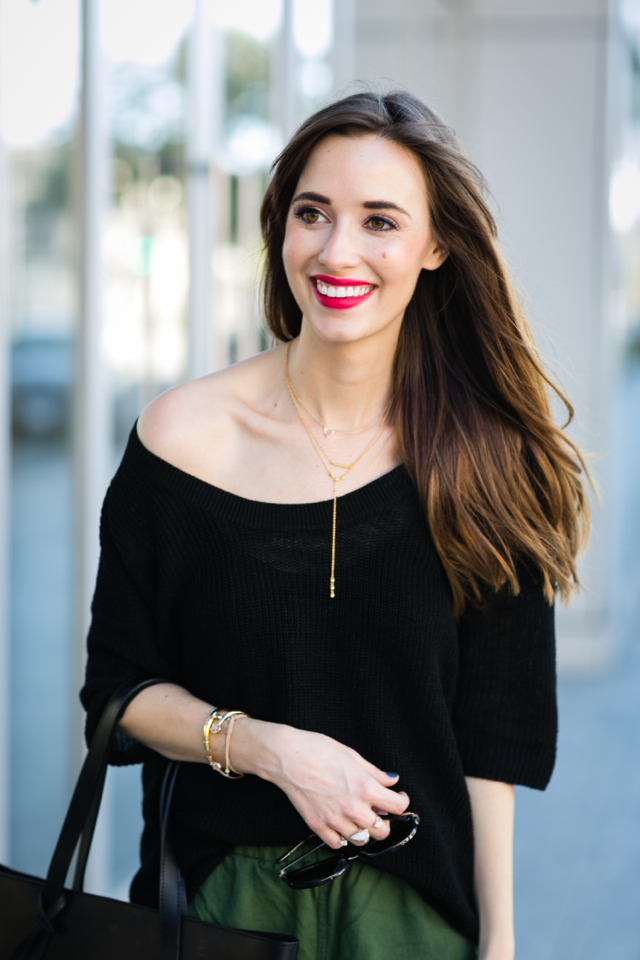 black off the shoulder sweater with long necklace M Loves M @marmar
