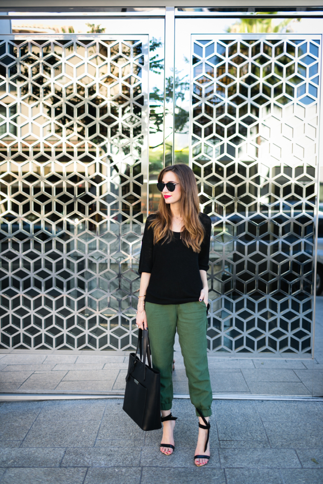 loose black sweater with army green pants M Loves M @marmar