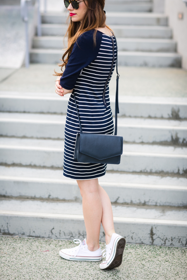 casual outfit with striped dress and Converse sneakers M Loves M @marmar