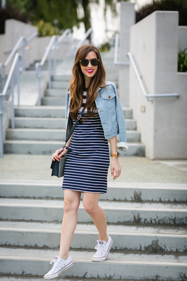 casual outfit with striped dress, denim jacket, and Converse sneakers M Loves M @marmar