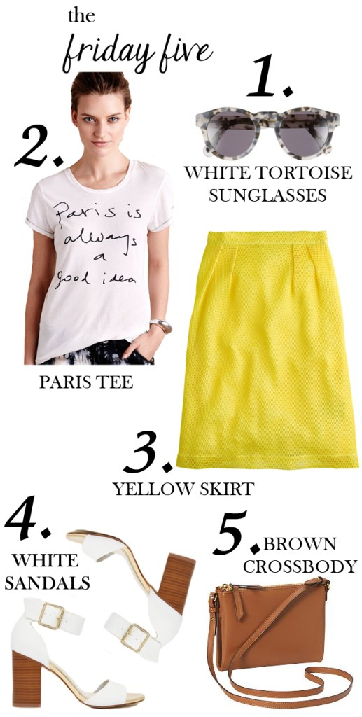the friday five with white tortoise sunglasses, paris tee, yellow skirt, white sandals and brown crossbody bag M Loves M @marmar