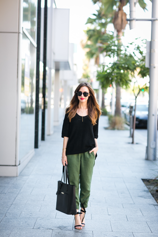 black knit sweater with loose j.crew seaside pants M Loves M @marmar