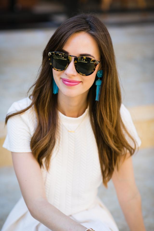 cream top with blue tassel earrings M Loves M @marmar