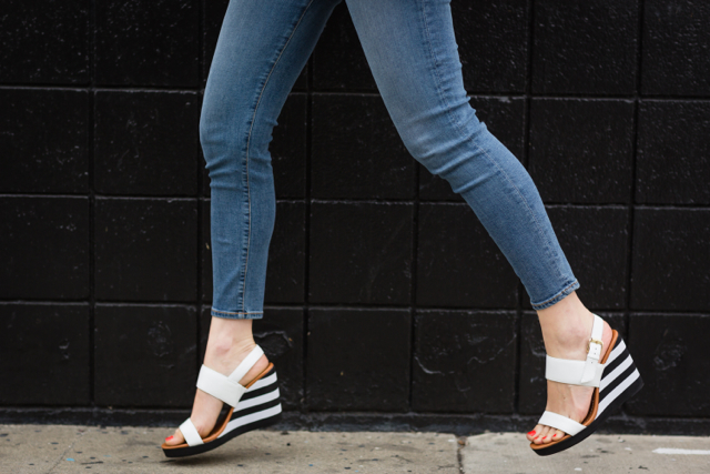 cropped jeans with black and white striped Kate Spade wedges M Loves M @marmar