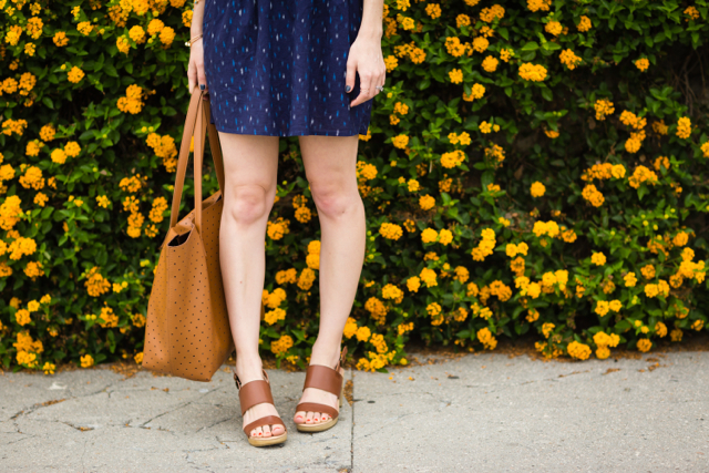 navy jacquard mini skirt and tan old navy sandals M Loves M @marmar