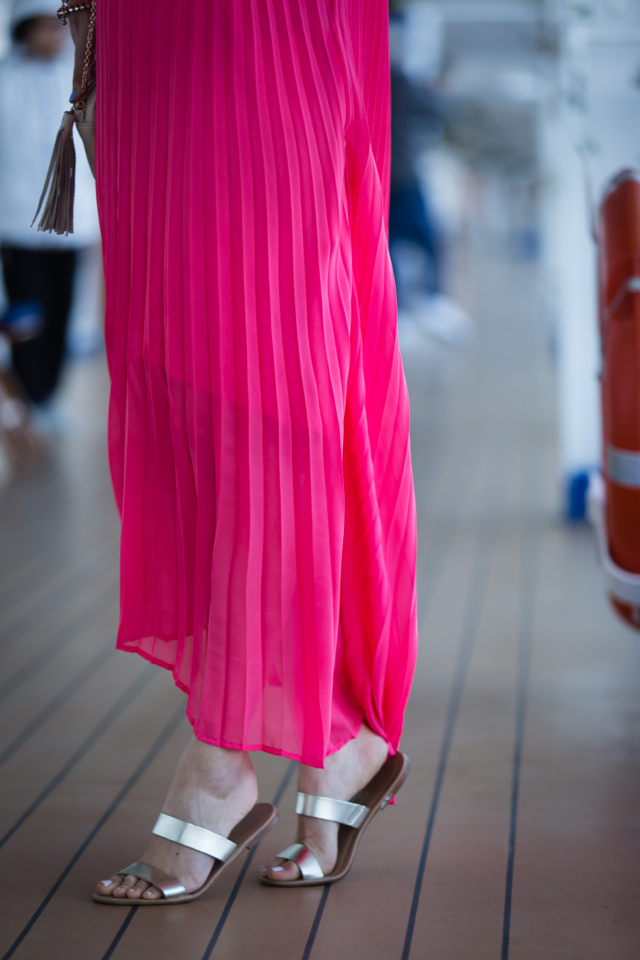 pink pleated maxi dress and two strap gold sandal flats on M Loves M @marmar