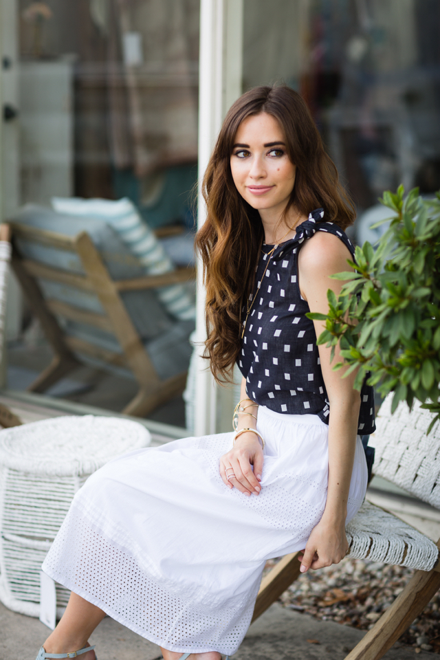 navy and white square print top with ties M Loves M @marmar