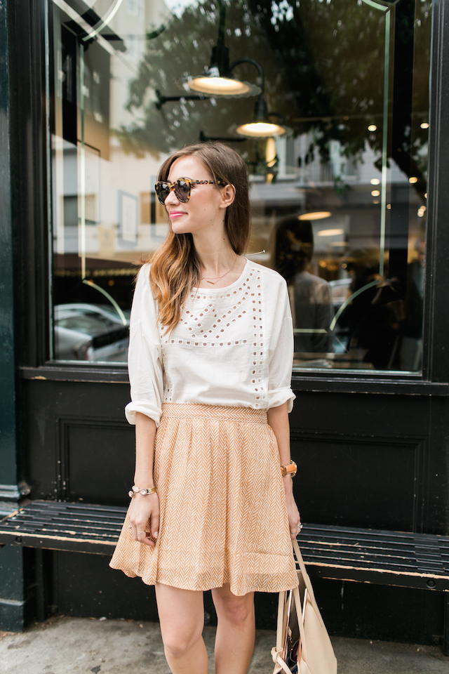 white eyelet blouse with yellow flowy skirt M Loves M @marmar