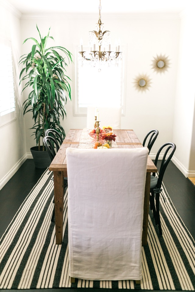 simple fall harvest decorating in dining room M Loves M @marmar