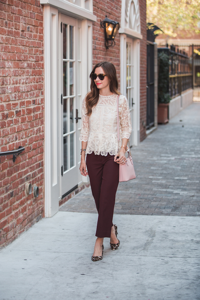 feminine fall outfit with lace blouse and burgundy cropped patio pants M Loves M @marmar