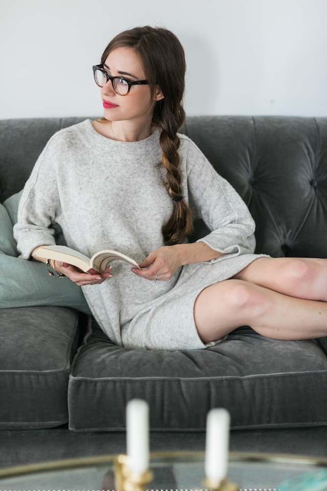 reading a book on the couch M Loves M @marmar