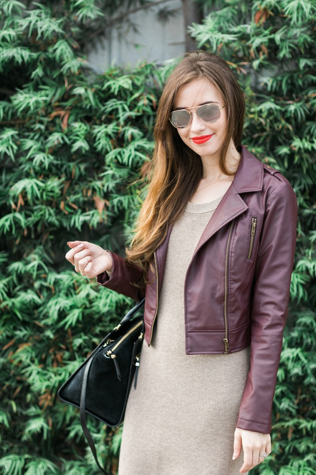 burgundy faux leather jacket from bb dakota and madewell knit dress on M Loves M @marmar