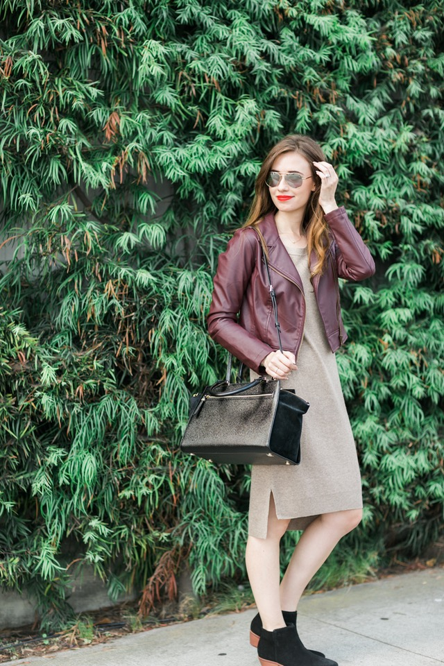 fall outfit inspiration: long sleeve toffee dress with black booties and burgundy leather jacket on M Loves M @marmar