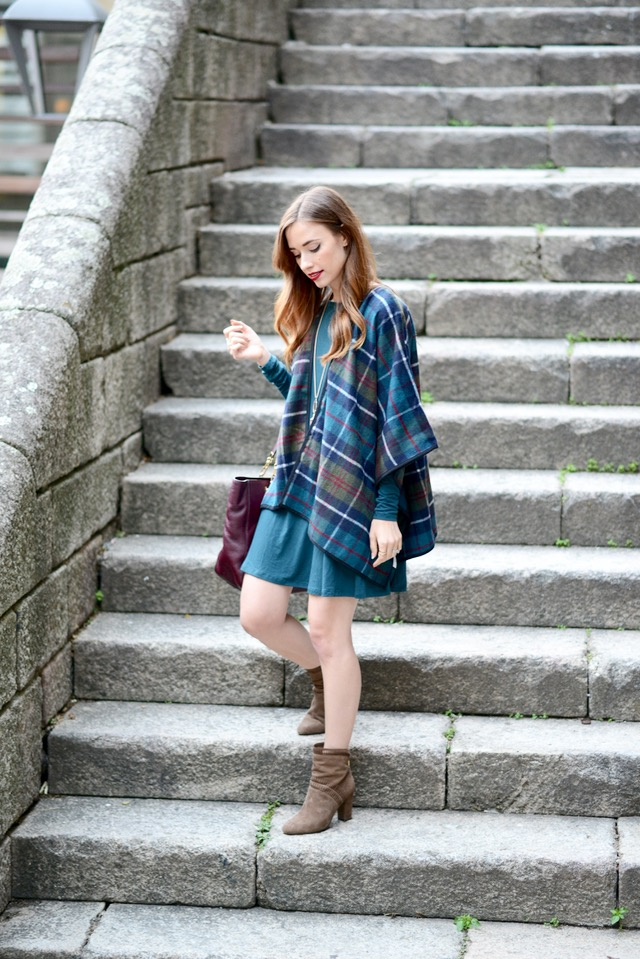 pretty fall outfit with plaid poncho, dress and booties on M Loves M in Portugal @marmar