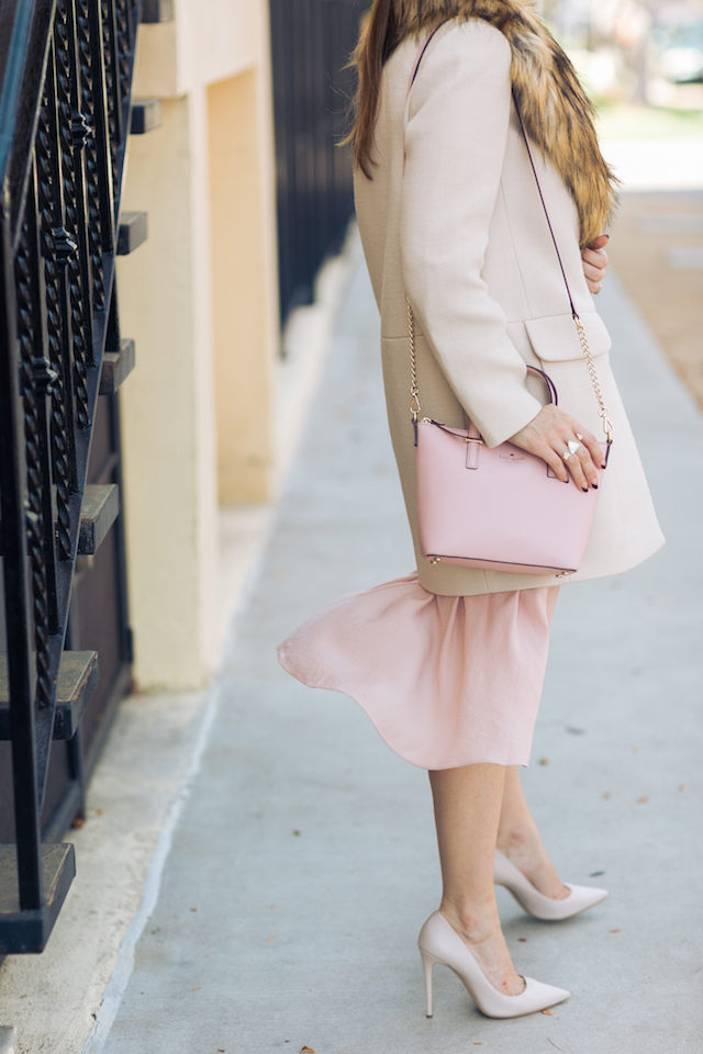 beige coat and pink dress and nude heels M Loves M @marmar