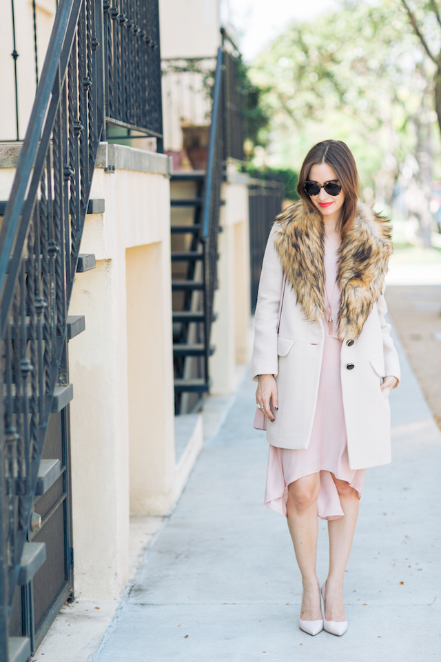 beige coat with faux fur collar on M Loves M @marmar