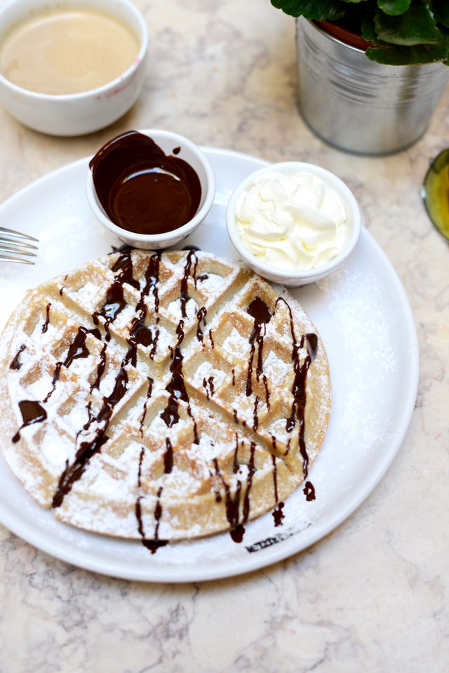 waffles with dark chocolate and whipped cream from tartine in lisbon portugal M Loves M @marmar