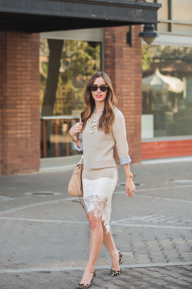 feminine work outfit with lace pencil skirt and sweater M Loves M @marmar