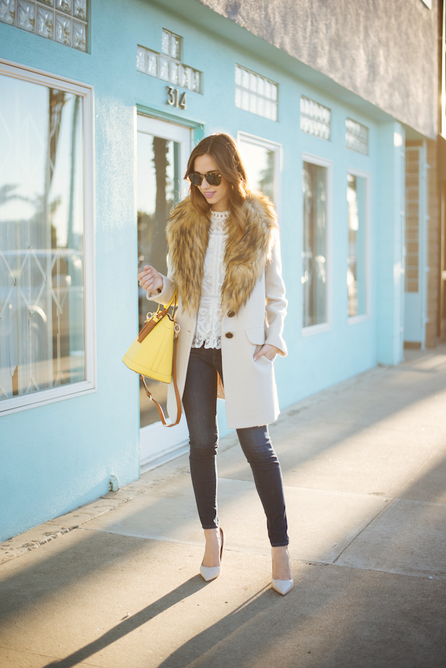 faux fur collar coat with lace blouse on M Loves M fashion blogger @marmar