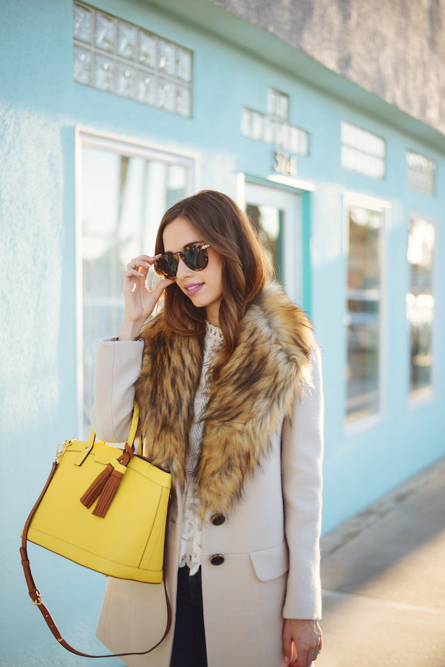 faux fur collar coat from kate spade on M Loves M @marmar