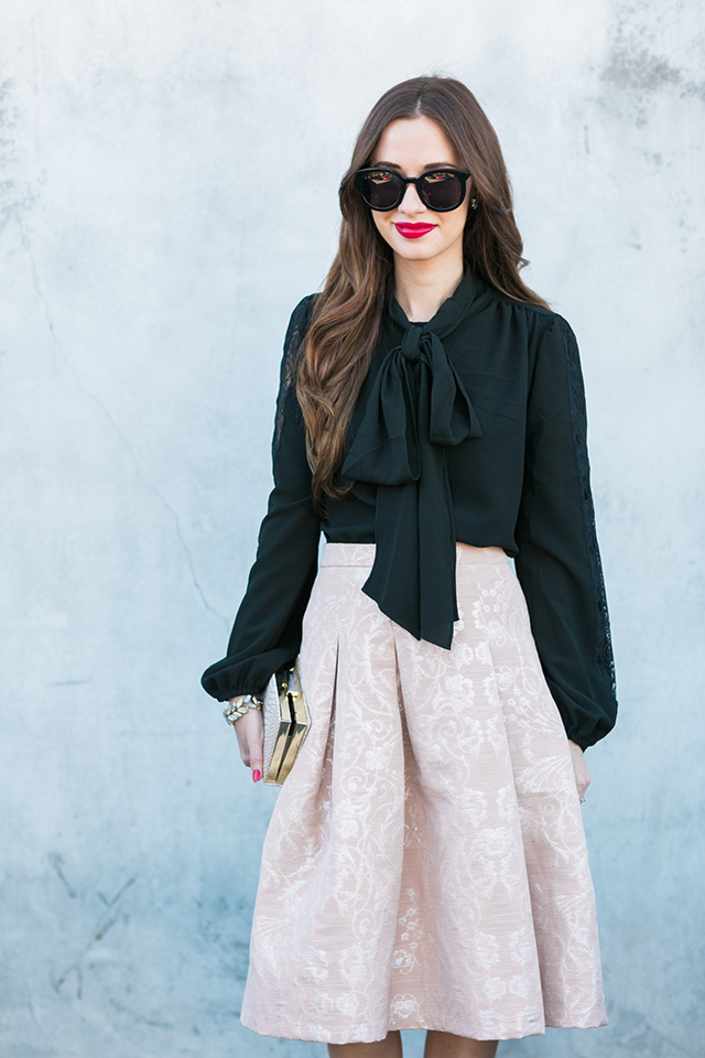 black bow blouse with brocade skirt outfit inspiration for the holidays by M Loves M