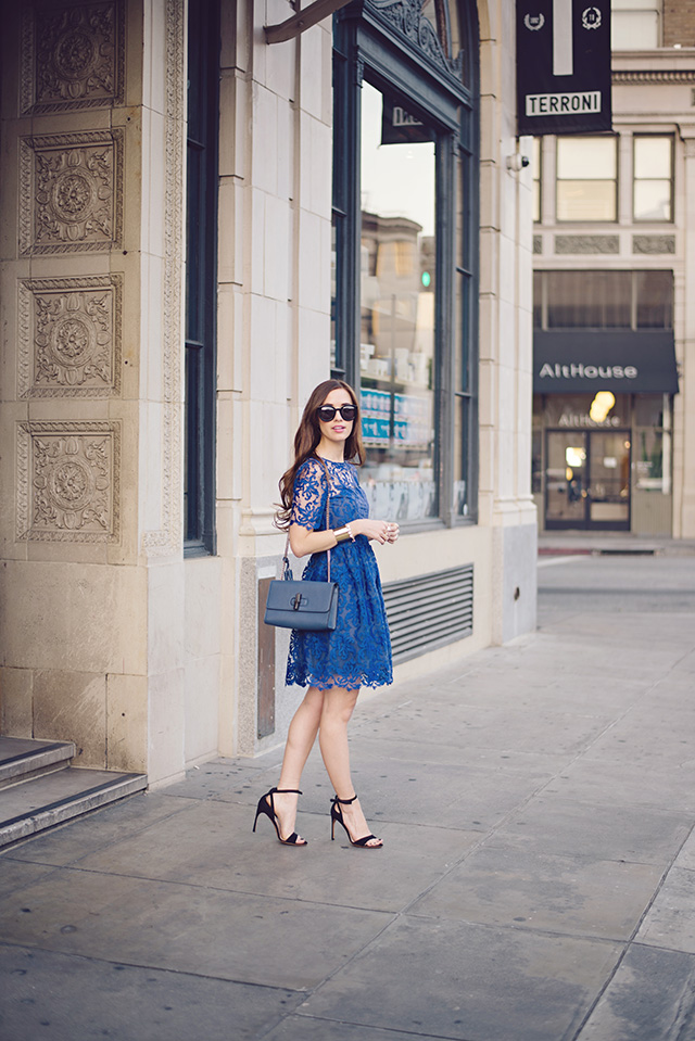 blue lace holiday dress by M Loves M
