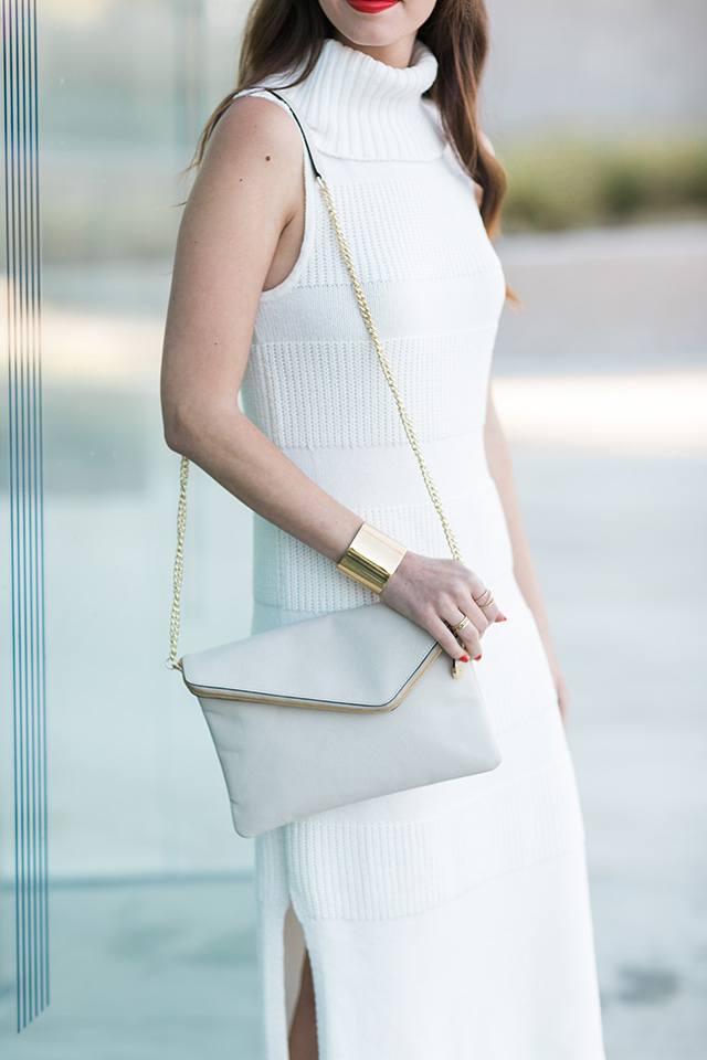 gray envelope purse with gold chain on M Loves M