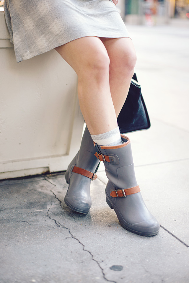 gray rain boots with socks by M Loves M