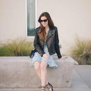 black leather jacket and floral dress M Loves M