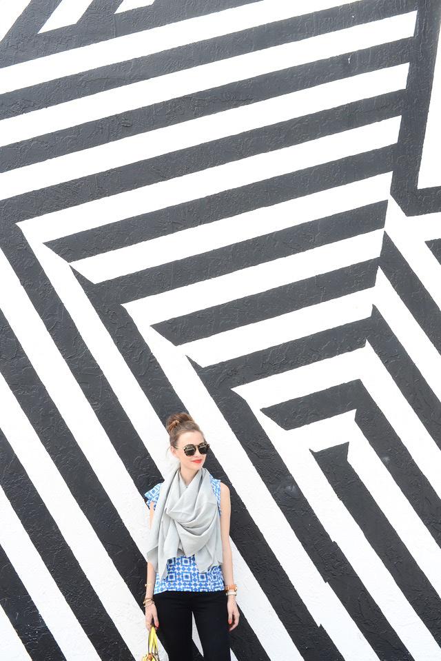 striped art deco wall in Miami Wynwood Walls M Loves M