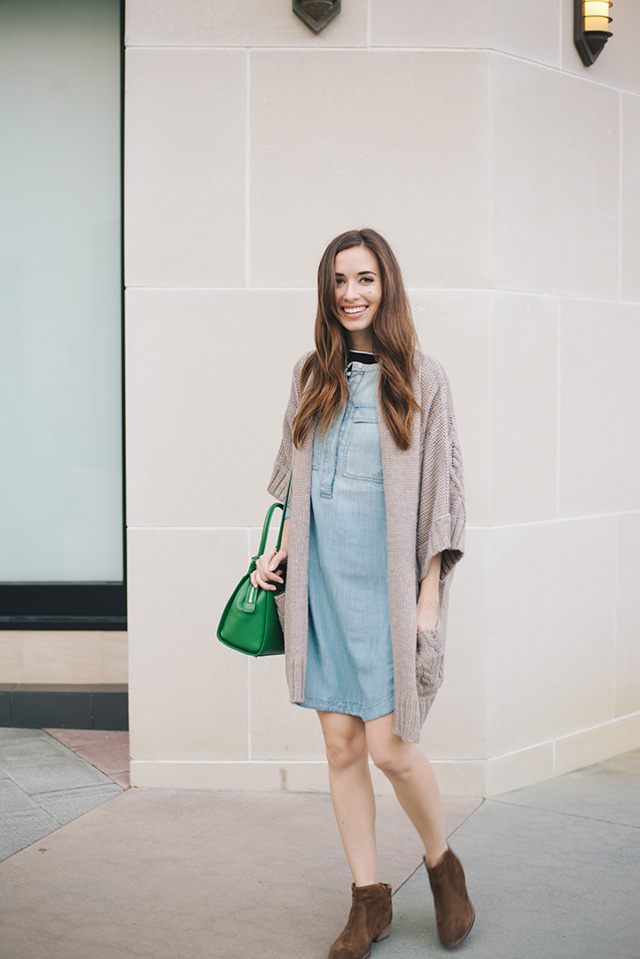 chambray shirtdress with brown boots outfit inspiration M Loves M