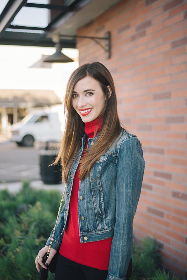 red turtleneck with jean jacket M Loves M