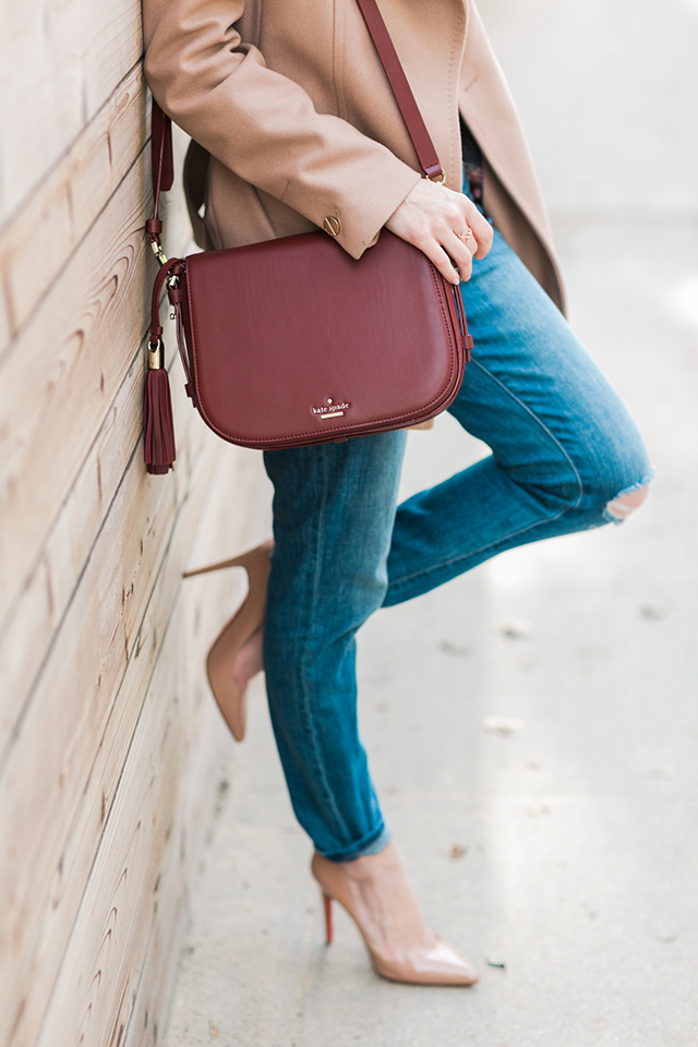 distressed jeans with nude heels M Loves M