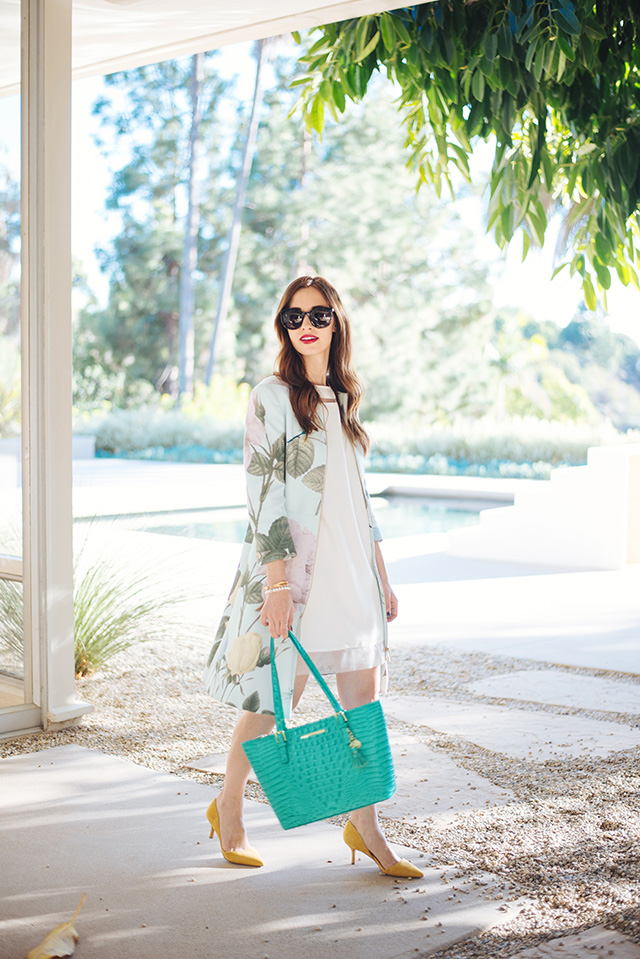 mint floral jacket with white dress M Loves M