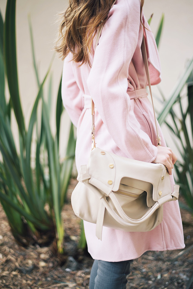 pink GUESS coat with Foley & Corinna bag M Loves M