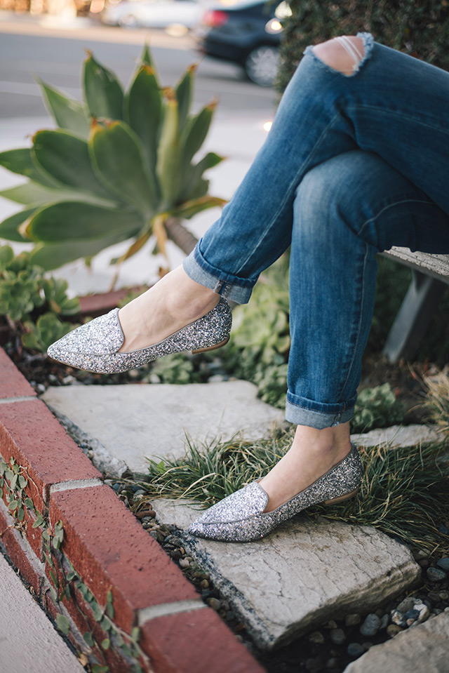sole society glitter flats with boyfriend jeans M Loves M