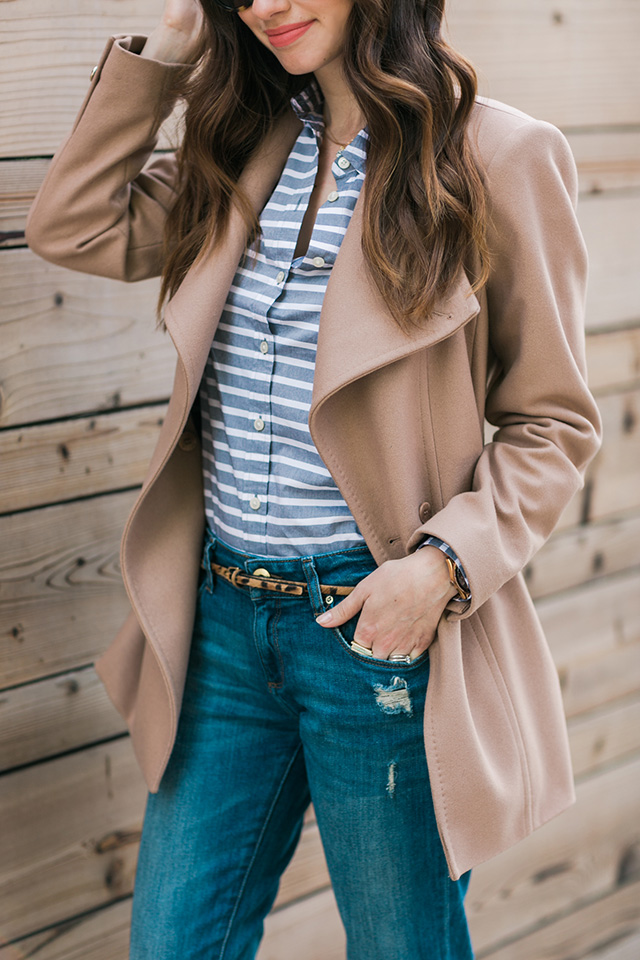 striped shirt and camel coat M Loves M