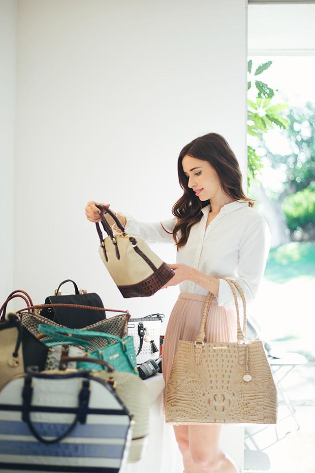 choosing bags for the brahmin spring photoshoot M Loves M