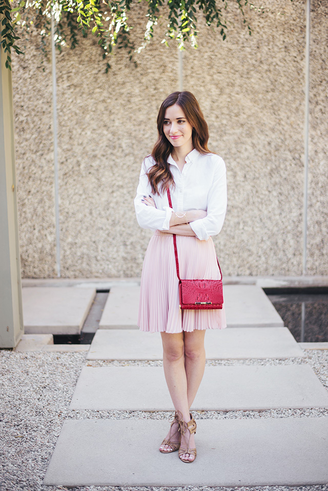 white button up with pink skirt M Loves M